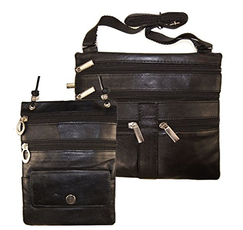 1 Lady 2 Black Cross Body Leather Satchel Messenger Bag 48'' Strap by Wallet (Image #2)