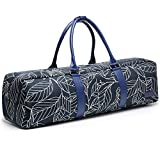 Elenture Canvas Yoga Mat Tote Bag with Storage Pockets,Fits Most Size Yoga Mats (Navy Blue Leaf) Review