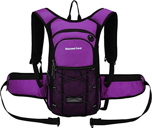 Insulated Hydration Backpack Pack with 2L BPA FREE Bladder - Keeps Liquid Cool up to 4 Hours – For Running, Hiking, Cycling, Camping (Purple - With Waist Pack)