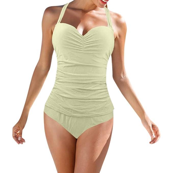 Damen Badeanzug Gepolstert Push Up Neckholder Bademode Schwimmanzug Strandmode