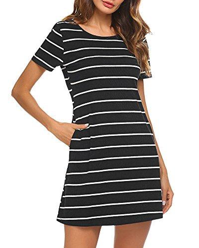 Junior Spring Dresses (Poetsky Juniors Striped Dress Backless Round Neck Cotton Dress with Pockets (XL, Black))