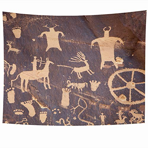 Ahawoso Tapestry 80x60 Inches Anasazi Petroglyphs Newspaper Rock Near White Indian Creek Moab Utah Navajo Ancient Gold Wall Hanging Home Decor Tapestries for Living Room Bedroom Dorm