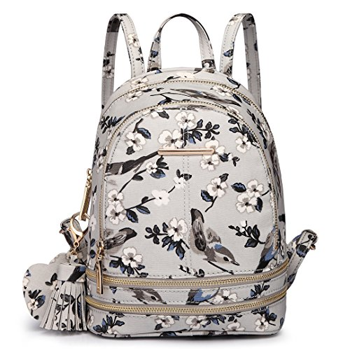 Miss Lulu - Bolso mochila de Lona para mujer 1704-16J Grey