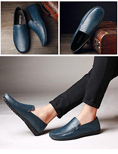 Menschwear Men's Genuine Leather Casual Loafers Shoes Slip-On Skate Shoes Blue-tx8008 ZMbdcMA