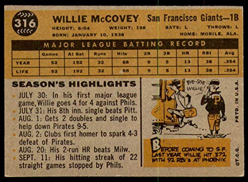 Buy willie mccovey 1960 topps