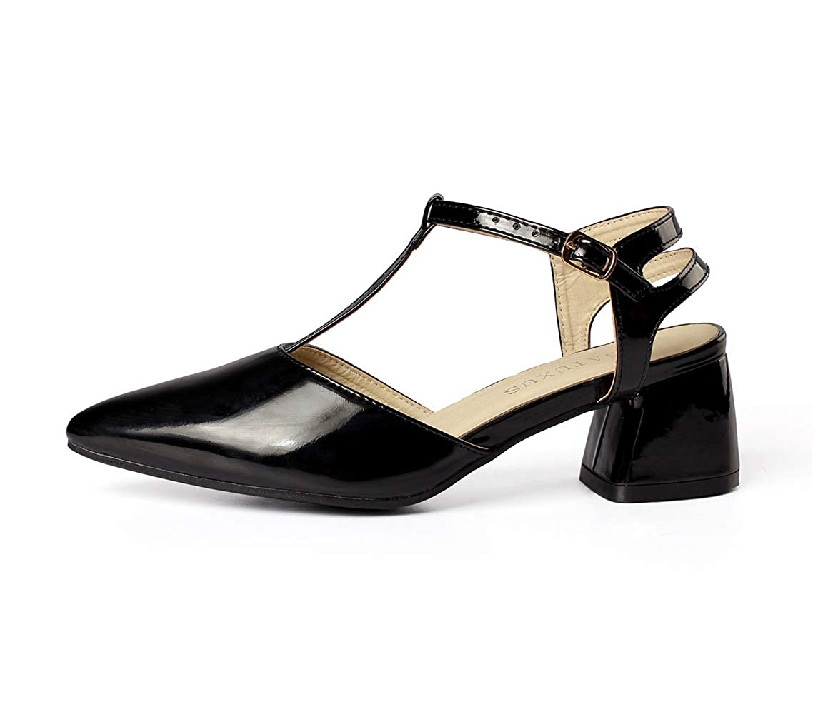 Black GATUXUS Women's Pointed Strap Low Heel Comfort Dress Pumps Mary Jane shoes