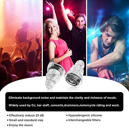 High Fidelity Concert Earplugs - Ear Protection & Noise Reduction Sleep Earplugs for Musicians, Dj,Drummers, Motorcycle, Travel ,Sleeping Ear Plugs.(Comfortable and Breathable) by YUNDOO (Image #5)