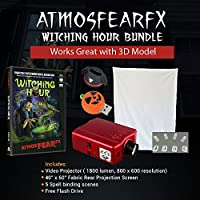 Amosfearfx Windowfx Witching Hour, 1800 Lumen Video Projector Bundle.Includes Projector, Dvd And Window Projectio Screen.