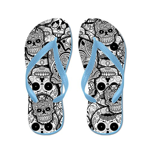 CafePress Sugar Skulls - Flip Flops, Funny Thong Sandals, Beach Sandals Caribbean Blue