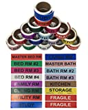 Shop4Mailers House Moving Color Coded Labels 1'' x 4.5'' Set of 16 Rolls ~ 50 Labels per Roll (1 Set)