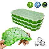 Evosummer Ice Cube Trays,3 Pack 111 Hexagon Honeycomb Ice Cubes Trays,Flexible with Removable Lid Ice Cube Molds for Chilled Drinks,Whiskey & Cocktails (2019 Newest/3 Packs)