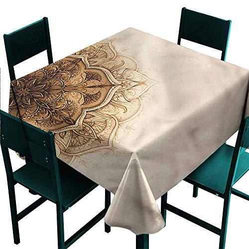 Brick Vinyl Ottoman - DONEECKL Polyester Tablecloth Henna Ottoman Culture Elements Party W54 xL54