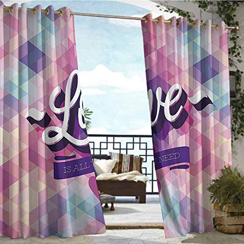 (Andrea Sam Fashions Drape Vintage,Love Theme Romantic Valentines Day Retro Artwork Ribbon and Mosaic Pattern,Pink and Purple,W72 xL108 Outdoor Curtain for Patio,Outdoor Patio)