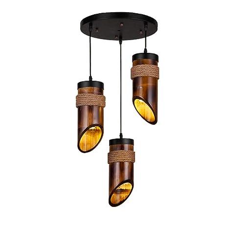 HOIHO Decoración Retro Araña De Bambú Antiguo Techo Lámparas ...