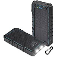 Hobest Solar Charger with Led Flashlight, Waterproof 12000mAh Solar Phone Charger with Dual USB, 2.1A Output Max Portable Phone Charger External Battery Pack Power Bank for Outdoors