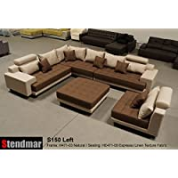 5pc multifunction 2-Tone Linen Texture Fabric Big Sectional Sofa S150LNE