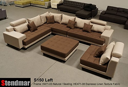 5pc multifunction 2-Tone Linen Texture Fabric Big Sectional Sofa S150LNE