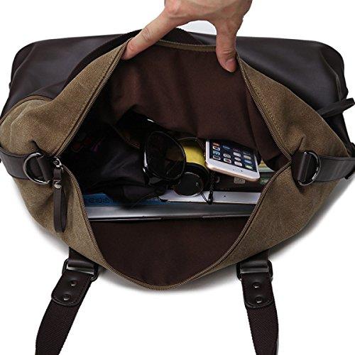 CHENGXIAOXUAN Lona Bolsos De Mano Hombres Viaje Viajar Bolsas Ocasional Bolso De Hombro Retro Negocios Paquete Diagonal Sección Transversal Negro Marrón Black