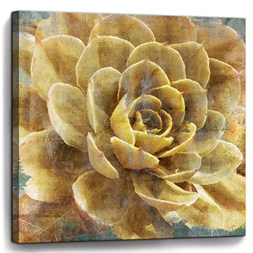 Bathroom Wall Art Vintage Yellow Flowers Pictures Canvas Artwork Framed Wall Decor for Bedroom Kitchen Office Modern…