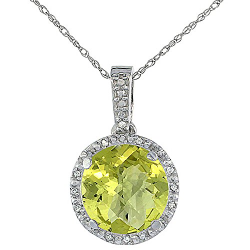 Or blanc 9 carats Pendentif Quartz Citron Naturel Rond 11 x 11 mm et Accents de diamant