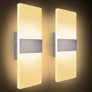 "Kernorv Modern Wall Sconce, Set of 2 12W Led Wall Lamp Warm White Acrylic Wall Light for Bedroom Living Room Bathroom Balcony Porch Office Hotel Staircase Garage Hallway 11.4"" x 4.3""(6000K)"