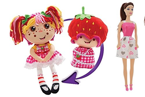 Strawberry Doll Costumes (Flip Zee Girls Zana Very Berry Strawberry and Cuddly 2-in-1 Plush Doll BONUS Flipzee girls mini babies (Dolls vary) series 1 pack of four! Zana & FASHION DOLL)