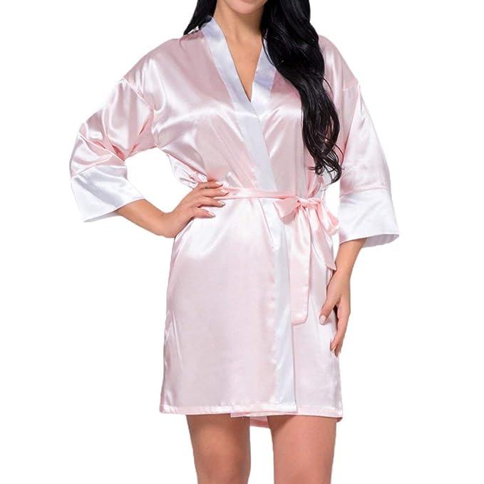 Laisla fashion Satin Night Robe Lace Albornoz Boda Novia Vestidos Clásico De Dama De Honor Bata para Mujeres: Amazon.es: Ropa y accesorios