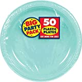 Amscan Big Party Pack 50 Count Plastic Lunch Plates, 10.5-Inch, Robbins Egg Blue
