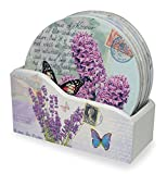 Drink Coasters with Holder - Set of 6 - Assorted Butterflies and Lavender Designs - Each One is Printed with an Inspirational Message - Gifts for Her - Butterfly Coasters