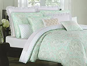 Cynthia Rowley 3pc Duvet Cover Set Annette Floral Paisley Scrolls Damask 100% Cotton Reversible Turquoise Blue Green White (Full/Queen)