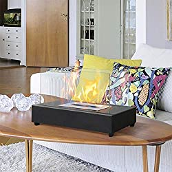 ART TO REAL Rectangle Tabletop Bio Ethanol Fireplace Indoor Outdoor Fire Pit Portable Fire Bowl Pot Fireplace in Black, Realistic Burning