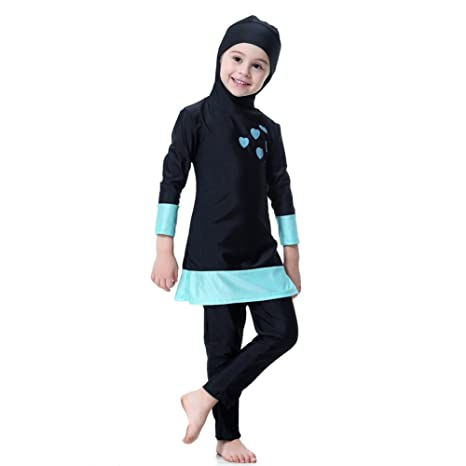 bd1db020d4 Hougood Girls Muslim Swimming Costumes Kids Modest Islamic Hijab Swimsuits  Burkini Long-sleeved Sun Protection
