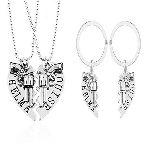 1 Set Thelma and Louise Revolver Charm Keychain Broken Heart-shaped Puzzle BFF Necklace(Silver)