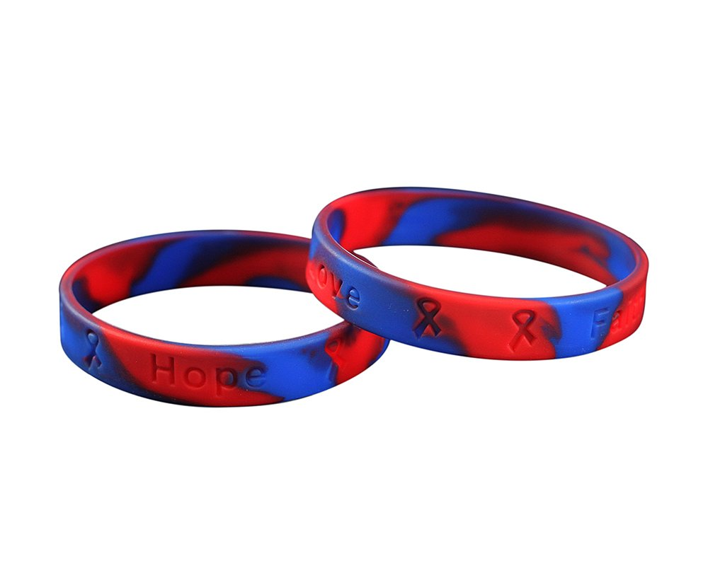 50 Pack Red & Blue Silicone Bracelets - Adult Size (Wholesale Pack - 50 Bracelets)