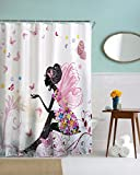A.Monamour Pink Butterfly Girl With Floral Dress Flower Fairy Angel Wings Print Waterproof Mildew Resistant Fabric Polyester Shower Curtain For Bath Decors 180X200 CM / 72' X78'