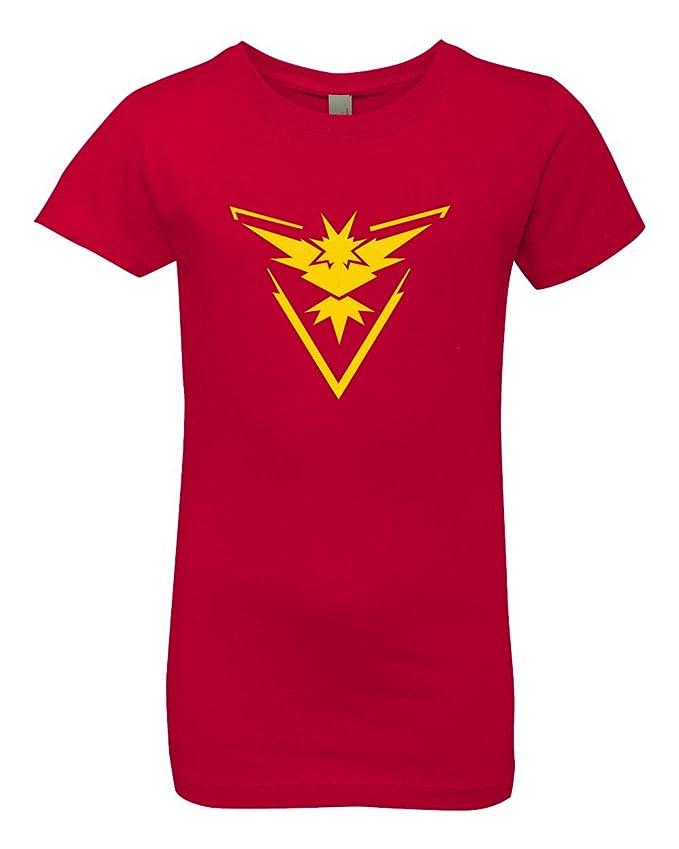 7f6790a6 Amazon.com: Custom Apparel R Us Pokemon Go Gym Team Instinct Yellow Youth  Girls Princess Tee T-Shirt Top: Clothing