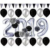 40inch Silver 2019 Foil Balloons Tissue Pom Poms Triangle Flag Paper Garland Kit for 2019 New Year Eve Party Decorations