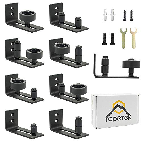 (Barn Door Floor Guide Roller - Wall Mount Adjustable Channel Stay Roller with 8 Different Setups Fit for All Sliding Barn Doors, Sits Flush to Floor, Black Powder Coated Bottom Bracket Hardware)