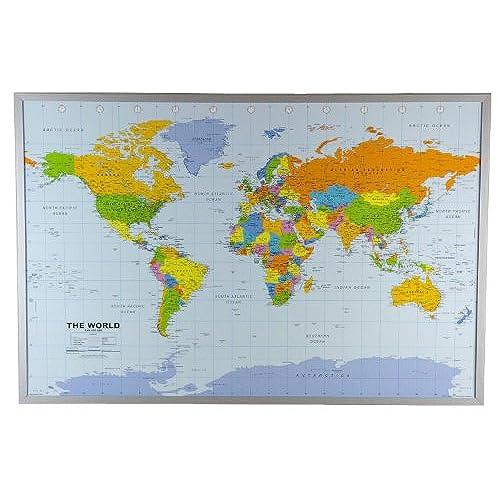 Corkboard world map amazon political world map on cork pinboard 24 x 36 gumiabroncs Images