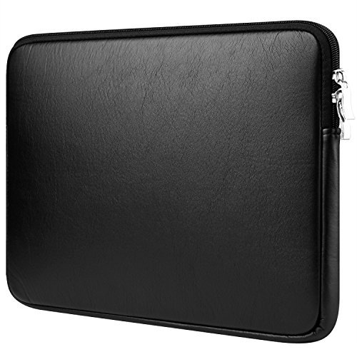 CCPK 13 inch Laptop Sleeve 13 Case Cover PU Leather Bag Compatible for Apple MacBook Air 13.3-inch Sleeves Compatible with Pro Retina Surface Dell Samsung Sony HP Notebook 12.9 inch iPad, Black