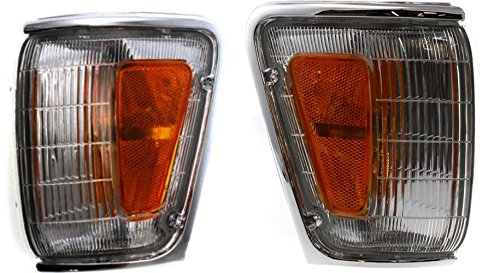 DAT 89-91 TOYOTA PICKUP 4WD CHROME PARKING LIGHT ASSEMBLY CORNER OF FENDER SET OF TWO LEFT DRIVER AND RIGHT PASSENGER SIDE PAIR TO2520124 TO2521126