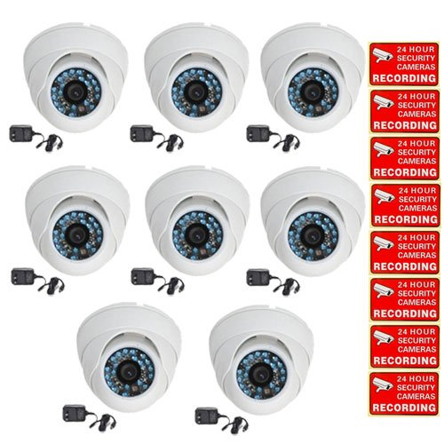 VideoSecu 8 Pack Outdoor CCD IR Dome 480tvl CCTV Security Cameras Day Night Home Surveillance Infrared 3.6mm Wide Angle Lens with Bonus Power Supplies and Security Warning Stickers CCW
