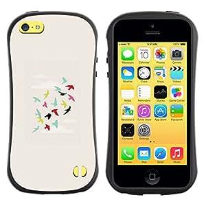 """Hypernova Slim Fit Dual Barniz Protector Caso Case Funda Para Apple iPhone 5C [Los pájaros del trullo Verde Rosa Profunda""""]"""