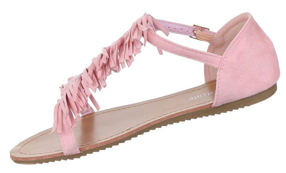 Damen Sandalen Offen Riemchen Sommer Strand Schuhe Zehentrenner Rosa 39 FtnDt