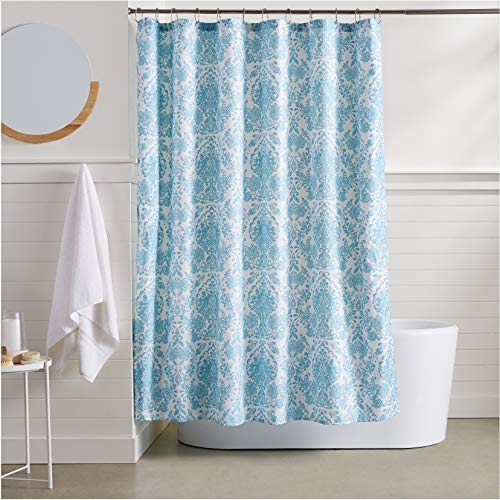 AmazonBasics Blue Bella Bathroom Shower Curtain - 72 Inch