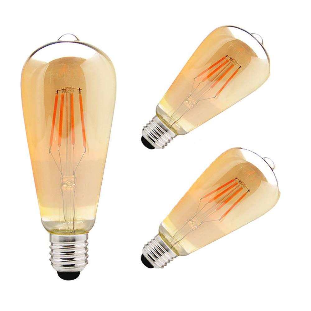 ZHMA Edison Lampe E27 ST64 Vintage Stil 3er pack 4W filament lamp Edison Gl/ühbirne Retro Licht Vintage Bulb Antik Beleuchtung LED Kerzenform Filament pear 3000K 320LM