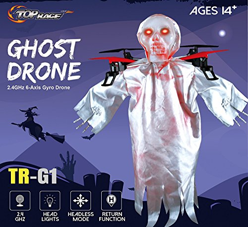 Top Race Halloween Ghost Drone, 6 Gyro 2.4 GHz Flying Ghost Quadcopter Drone Best Halloween Prank - TR-G1 -
