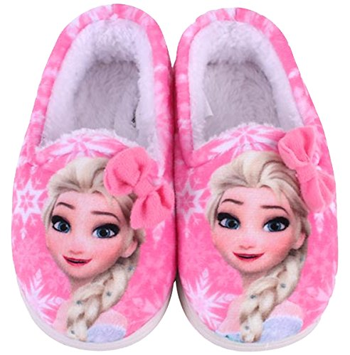 Disney Frozen Elsa Pink Hair Ribbon Girls Fur Indoor Slipper Shoes (Parallel Import/Generic Product) (13 M US Little Kid)