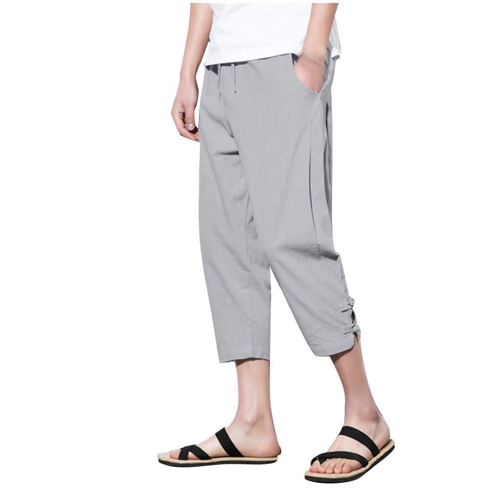 Allywit M-5XL Summer Men Casual Harem Pants Jogger Stripe Fitness Trousers Capri Linen Loose Pants Dark Gray