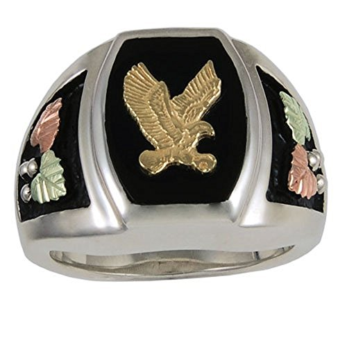 (Men's Onyx Eagle Ring, Sterling Silver, 10k Yellow Gold, 12k Green and Rose Gold Black Hills Gold Motif, Size 9 )